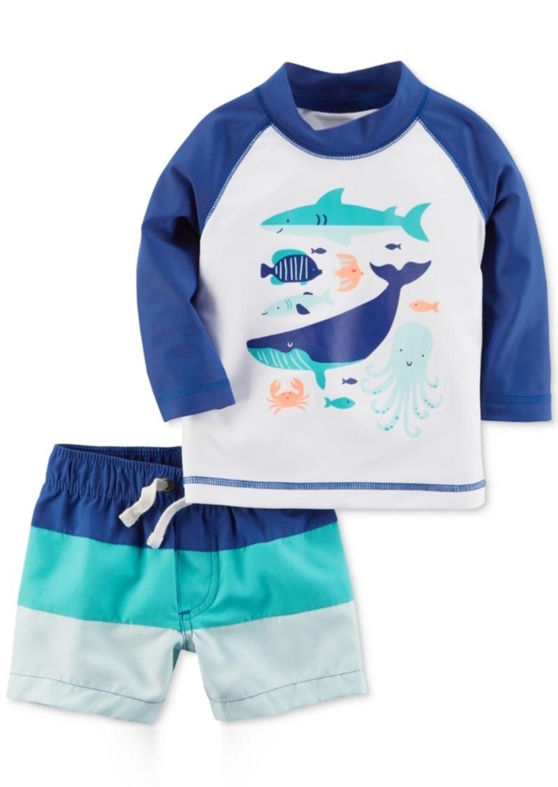 6b8c5c4ac Carter's 2-Pc. Sea Creatures Rash Guard & Colorblocked Swim Trunks Set, Baby