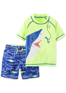 Carter's 2-Pc. Shark-Print Swimsuit, Baby Boys
