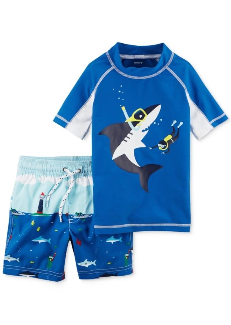 4748f72131 Carter's 2-Pc. Shark Rash Guard & Swim Trunks Swim Set, Toddler Boys