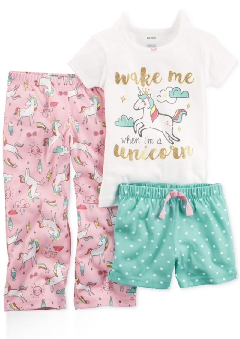 Carter's Carter's 3-Pc. Unicorn Pajama Set, Toddler Girls | Sleepwear - Shop It To Me