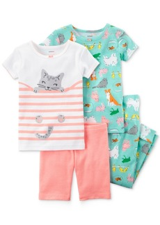Carter's 4-Pc. Cat Cotton Pajama Set, Toddler Girls