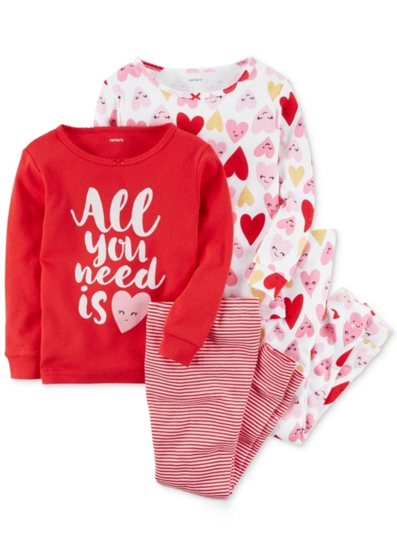 f6c2033d9 Carter s Carter s 4-Pc. Hearts Cotton Pajama Set