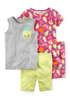 Carter's 4-Pc. Printed Cotton Pajamas Set, Baby Girls