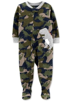 Carter's Baby Boys 1-Pc. Camo-Print Dinosaur Fleece Footed Pajamas