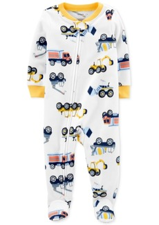 Carter's Baby Boys 1-Pc. Construction-Print Fleece Footed Pajamas