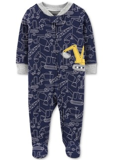Carter's Baby Boys 1-Pc. Construction-Print Footed Cotton Pajamas