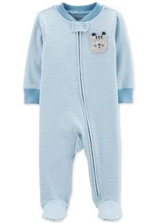 Carter's Baby Boys 1-Pc. Striped Cat Footed Pajamas