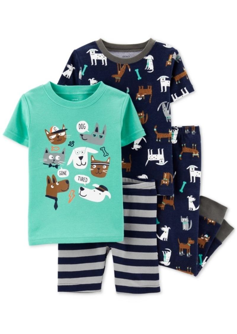 Carter's Baby Boys 4-Pc. Cotton Printed & Striped Pajama Set