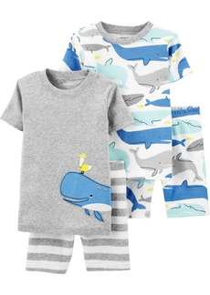 Carter's Baby Boys 4-Pc. Cotton Whale Snug-Fit Pajamas