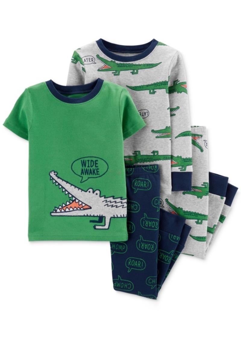 Carter's Baby Boys 4-Pc. Gator-Print Cotton Pajamas Set