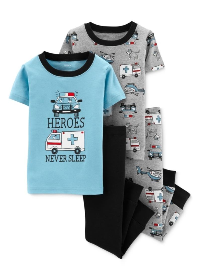 Carter's Baby Boys 4-Pc. Heroes Never Sleep Cotton Pajamas Set