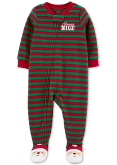 Carter's Baby Boys Footed Fleece Always Nice Santa Pajamas
