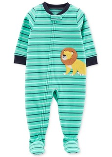 Carter's Baby Boys Striped Lion Fleece Footed Pajamas