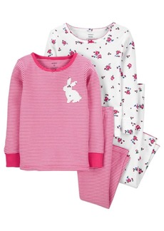 Carter's Carters Baby Girl 4-Piece Bunny 100% Snug Fit Cotton PJs