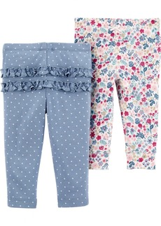 Carter's Baby Girls 2-Pack Printed Cotton Pants