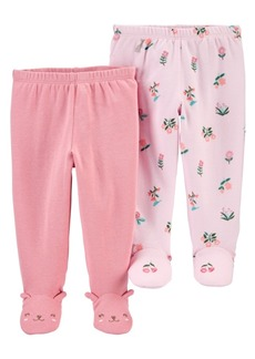 Carter's Baby Girls 2-Pair Cotton Footed Pants