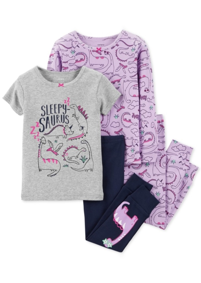 88920f97b8 Carter s Carter s Baby Girls 4-Pc. Snug-Fit Cotton Dinosaur Pajamas Set