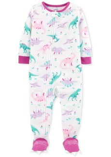 Carter's Baby Girls Dinosaur-Print Footed Pajamas