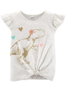 Carter's Baby Girls Dinosaur-Print Tie-Front Cotton T-Shirt