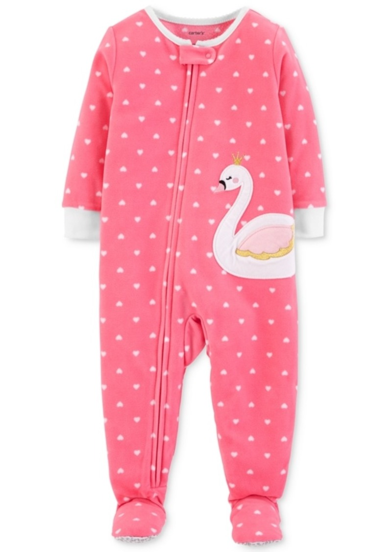 Carter s Carter s Baby Girls Dot-Print Swan Footed Pajamas Now  7.99 bf1b5edb3