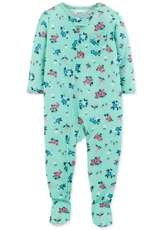 Carter's Baby Girls Floral-Print Footed Pajamas