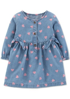 Carter's Baby Girls Heart-Print Chambray Dress