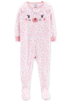 Carter's Baby Girls Printed Cat-Face Footed Fleece Pajamas