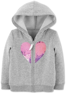 Carter's Baby Girls Sequined Heart Zip-Up Fleece Hoodie