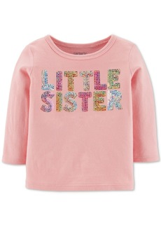 Carter's Baby Girls Sequined Little Sister Cotton T-Shirt