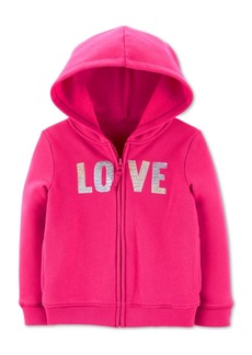 Carter's Baby Girls Sequined Love Zip-Up Fleece Hoodie