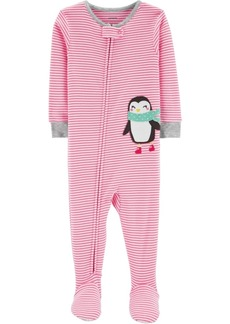 Carter's Baby Girls Striped Penguin Footed Pajamas