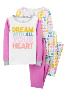 Carter's Big Girl 4-Piece Heart Snug Fit Cotton PJs
