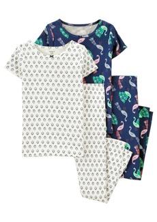 Carter's Big Girls 4 Piece Peacock Snug Fit Pajama Set
