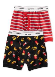 Carter's Little & Big Boys 2-Pk. Food-Print & Stripes Cotton Boxers