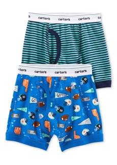 Carter's Little & Big Boys 2-Pk. Sports-Print & Stripes Cotton Boxers