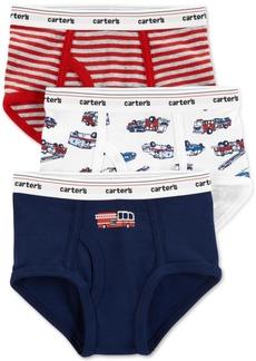 Carter's Little & Big Boys 3-Pk. Firetrucks & Stripes Cotton Briefs