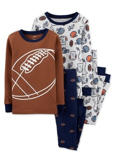 Carter's Little & Big Boys 4-Pc. Cotton Football Pajamas Set