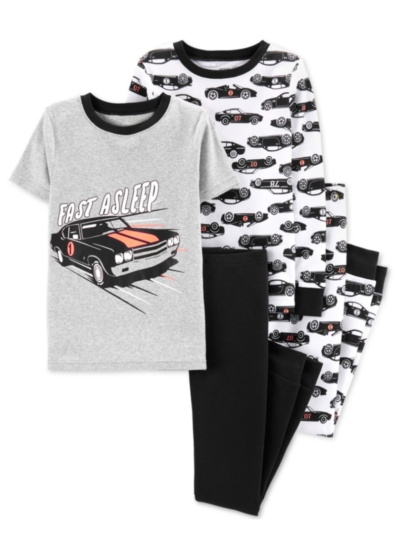 Carter's Little & Big Boys 4-Pc. Cotton Race Cars Pajama Set