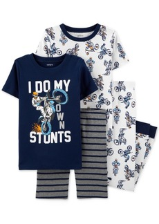 Carter's Little & Big Boys 4-Pc. Motorcylce Stunts Cotton Pajama Set