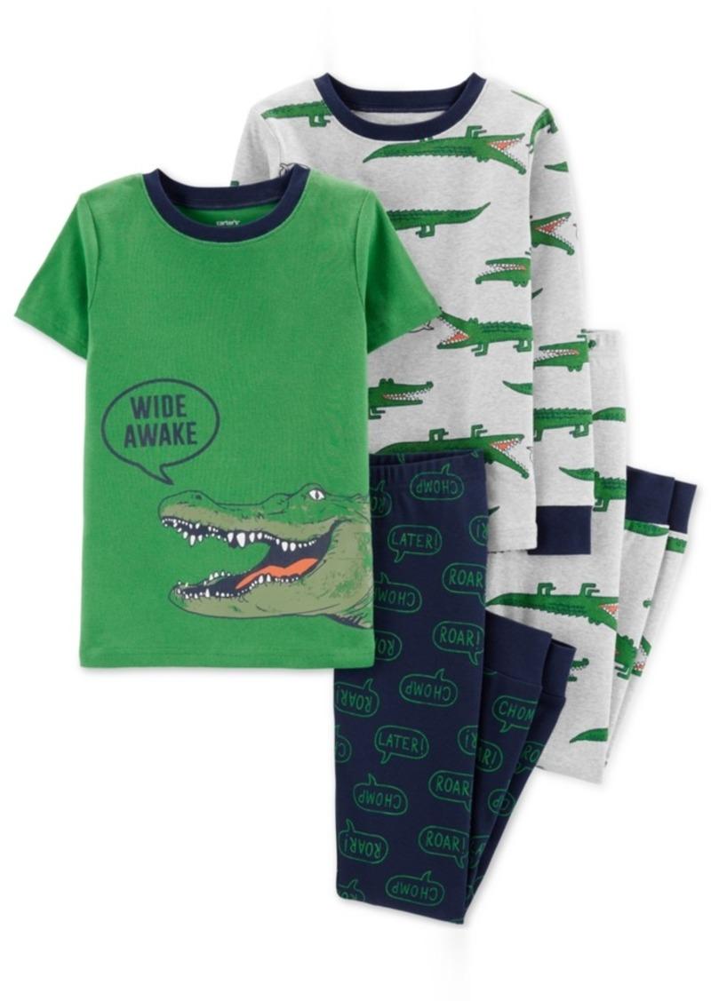 Carter's Little & Big Boys 4-Pc. Wide Awake Alligator Cotton Pajama Set