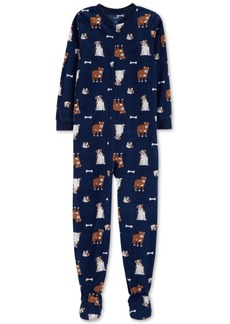 Carter's Little & Big Boys Dog-Print Footed Fleece Pajamas
