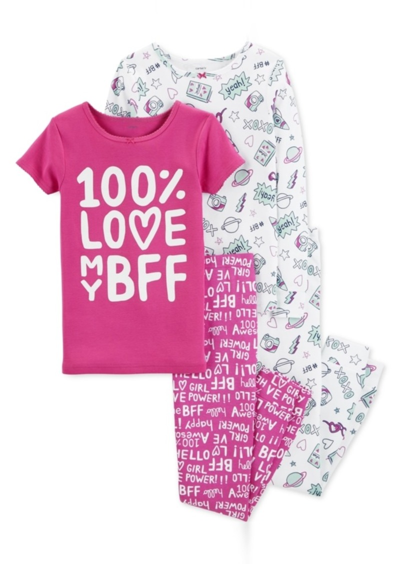 cd31aac746a2 Carter s Carter s Little   Big Girls 4-Pc. Bff Snug Fit Cotton PJs ...