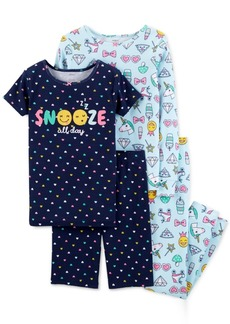 Carter's Little & Big Girls 4-Pc. Emoji Snug Fit Cotton PJs Set
