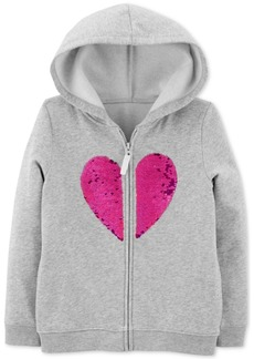 Carter's Little & Big Girls Flip-Sequin Heart Zip-Up Fleece Hoodie