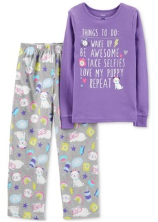 Carter's Little & Big Girls Purple Puppy-Print Pajamas