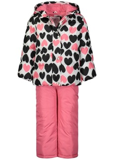 Carter's Little Girls 2-Pc. Heart-Print Jacket & Bib Snow Suit