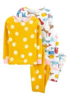 Carter's Little Girls Animals Snug Fit Pajamas, 4 Piece