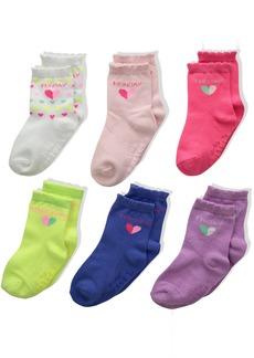 Carter's Little Girls' Crew Socks (6 Pack)