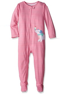 Carter's Little Girls' Striped Graphic Footie (Toddler) - Dog with Cupcake -