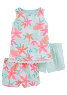 Carter's Little Girls Tropical Loose Fit Pajamas, 3 Pieces
